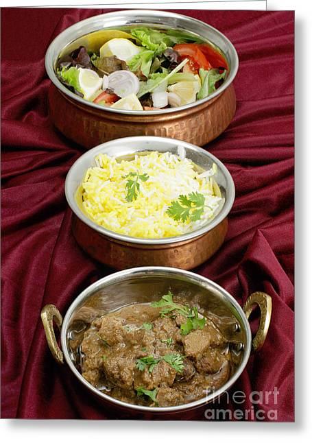 Beef Rogan Josh With Rice And Salad Greeting Card by Paul Cowan