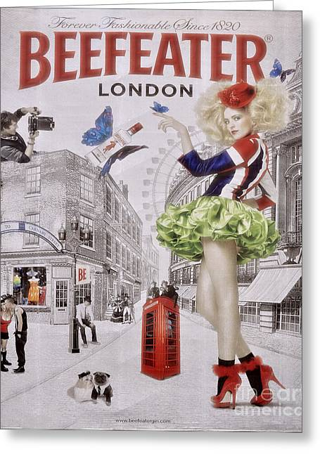 Billboard Greeting Cards - Beefeater Gin Greeting Card by Mary Machare