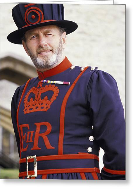 Empower Photographs Greeting Cards - Beefeater, Tower Of London Greeting Card by Chris Parker