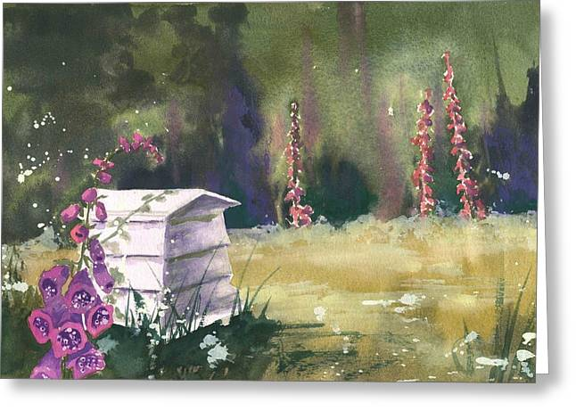 Beehive Greeting Cards - Beehive Border Greeting Card by Alison Fennell