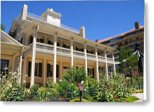 Covered Porch Greeting Cards - Beehive House Historic Mormon Residence in Salt Lake City Greeting Card by Gary Whitton