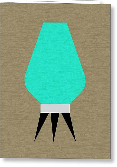 Table Lamp Greeting Cards - Beehive Lamp Aqua Greeting Card by Donna Mibus