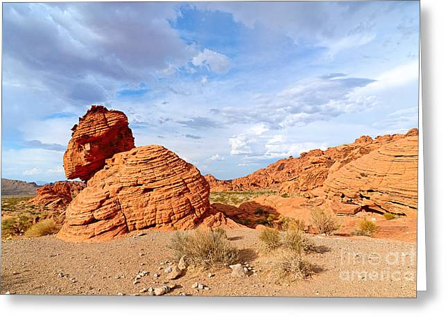 Beehive Greeting Cards - Beehive rock formation under a stormy sky in Nevada Valley of Fire State Park Greeting Card by Jamie Pham