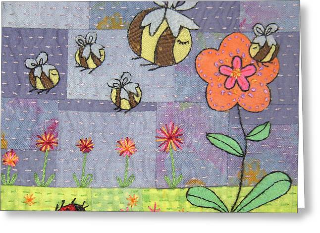 Whimsical Tapestries - Textiles Greeting Cards - Beeing Happy Greeting Card by Julie Bull