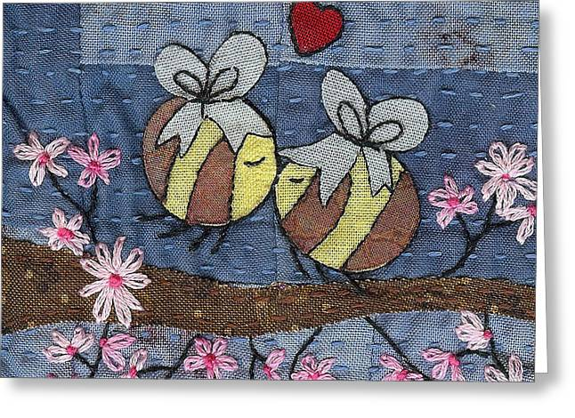 Blossoming Tapestries - Textiles Greeting Cards - Beeing In Love Greeting Card by Julie Bull