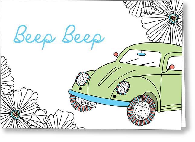 Susan Greeting Cards - Beep Beep Beetle Greeting Card by Susan Claire