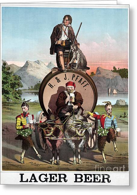 Stein Greeting Cards - BEER AD c1870 Greeting Card by Granger