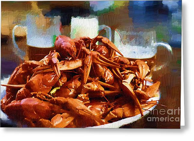 Crawfish Beer Greeting Cards - Beer and lobsters Greeting Card by Andrey Serdotetskiy