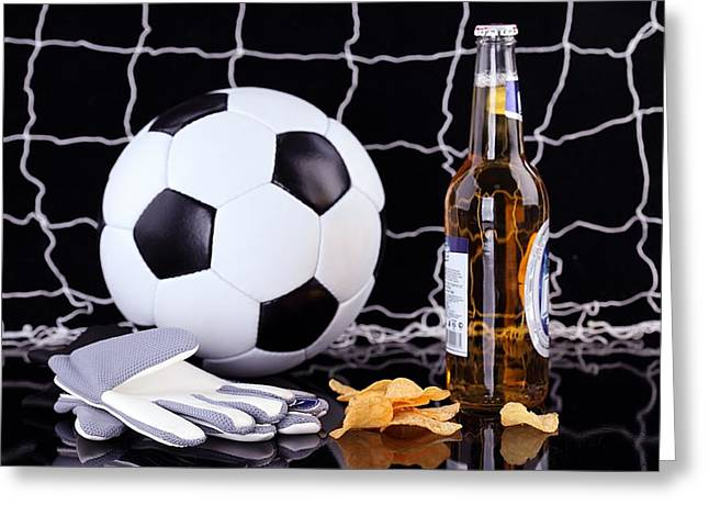 Equipment Pyrography Greeting Cards - Beer And Soccer  Greeting Card by John Vito Figorito