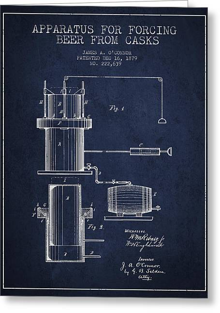 Barrel Greeting Cards - Beer Apparatus Patent Drawing from 1879 - Navy Blue Greeting Card by Aged Pixel