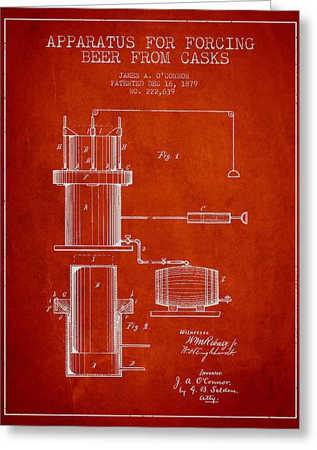 Technical Greeting Cards - Beer Apparatus Patent Drawing from 1879 - Red Greeting Card by Aged Pixel