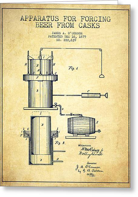 Barrel Greeting Cards - Beer Apparatus Patent Drawing from 1879 - Vintage Greeting Card by Aged Pixel