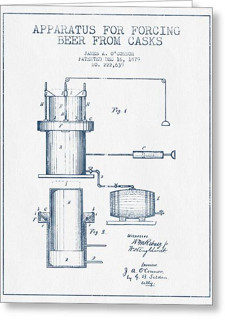 Tap Greeting Cards - Beer Apparatus Patent from 1879 -  Blue Ink Greeting Card by Aged Pixel