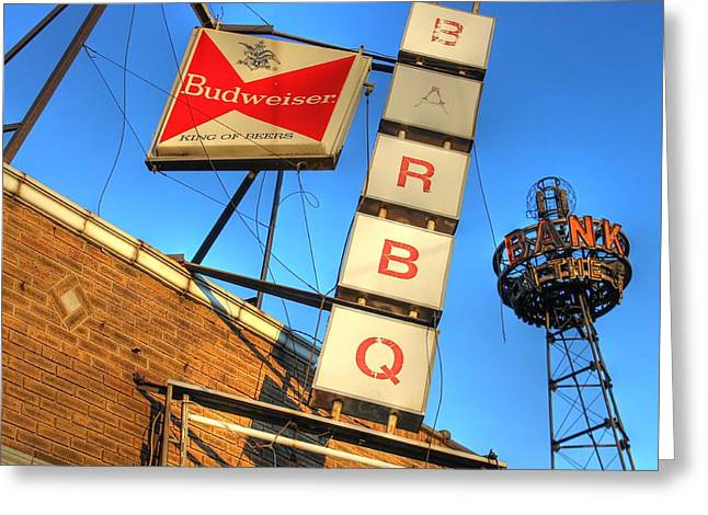 Barbeque Greeting Cards - Beer Banks and BBQ Greeting Card by Jane Linders