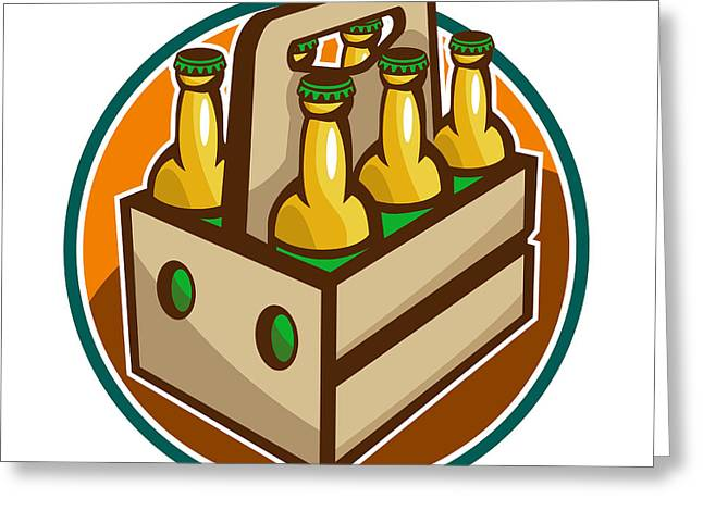 Beers Greeting Cards - Beer Bottle 6 Pack Retro Greeting Card by Aloysius Patrimonio