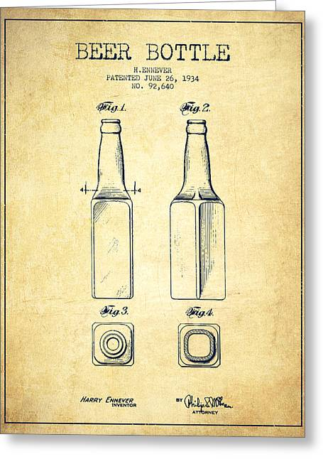 Beverage Digital Art Greeting Cards - Beer Bottle Patent Drawing from 1934 - Vintage Greeting Card by Aged Pixel