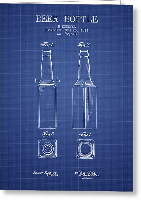 Glass Bottle Greeting Cards - Beer Bottle Patent from 1934 - Blueprint Greeting Card by Aged Pixel