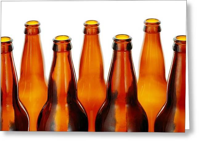 Beer Bottles Greeting Card by Jim Hughes
