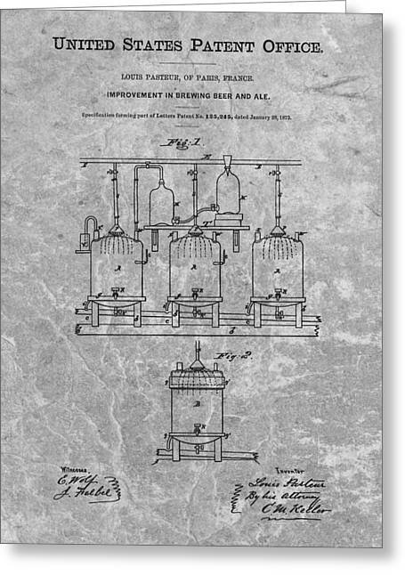 Beer Brewery Patent Charcoal Greeting Card by Dan Sproul