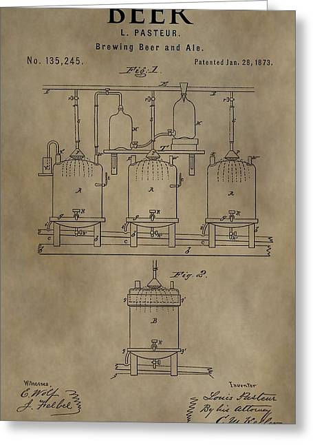 Mechanics Mixed Media Greeting Cards - Beer Brewery Patent Greeting Card by Dan Sproul