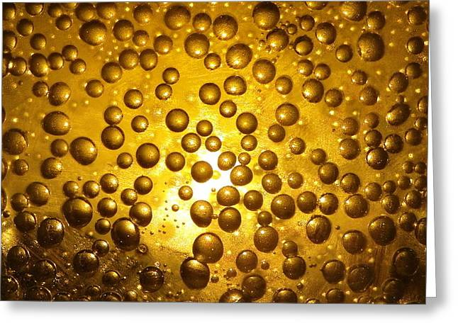 Fizz Photographs Greeting Cards - Beer bubbles abstract Greeting Card by Patrick Dinneen