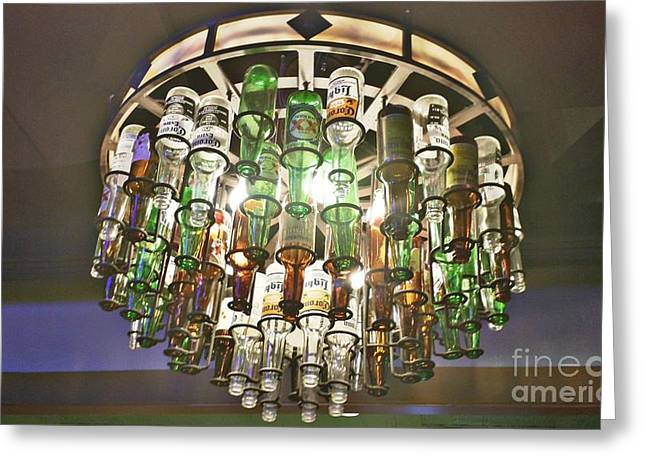 Glass Bottle Greeting Cards - Beer Chandelier Greeting Card by Jennifer Boisvert