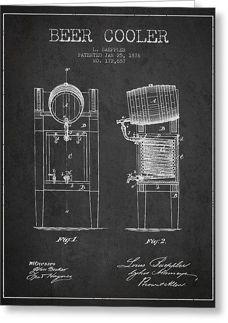 Keg Greeting Cards - Beer Cooler Patent Drawing from 1876 - Dark Greeting Card by Aged Pixel