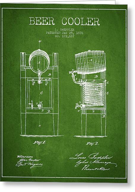 Barrel Greeting Cards - Beer Cooler Patent Drawing from 1876 - Green Greeting Card by Aged Pixel