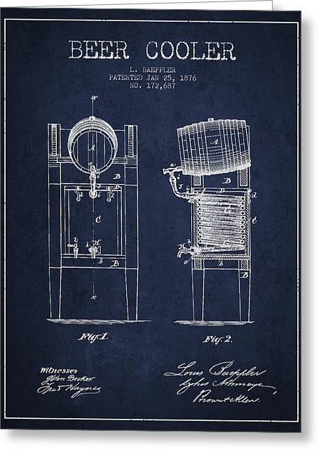 Keg Greeting Cards - Beer Cooler Patent Drawing from 1876 - Navy Blue Greeting Card by Aged Pixel