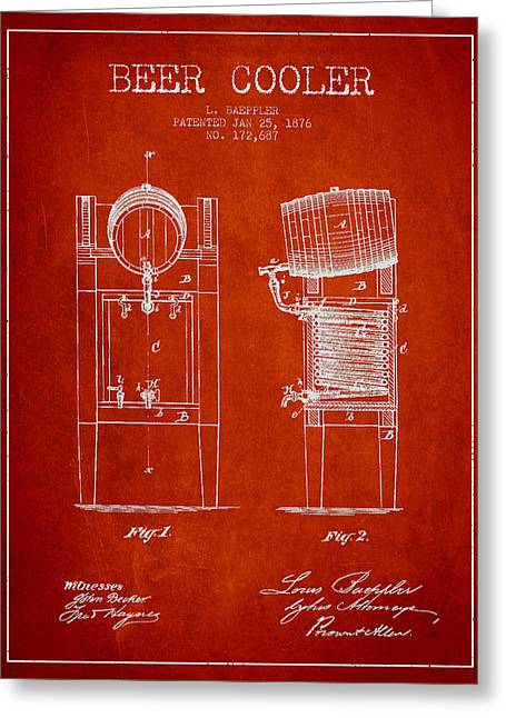 Barrel Greeting Cards - Beer Cooler Patent Drawing from 1876 - Red Greeting Card by Aged Pixel