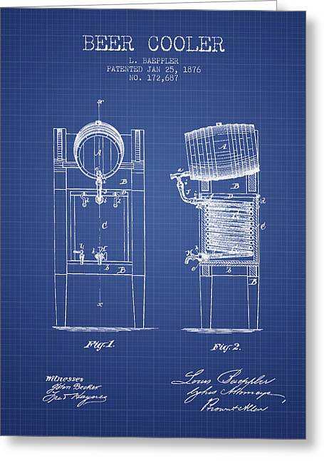 Barrel Digital Art Greeting Cards - Beer Cooler  Patent From 1876 - Blueprint Greeting Card by Aged Pixel