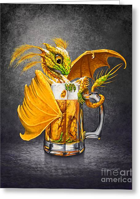 Hops Greeting Cards - Beer Dragon Greeting Card by Stanley Morrison