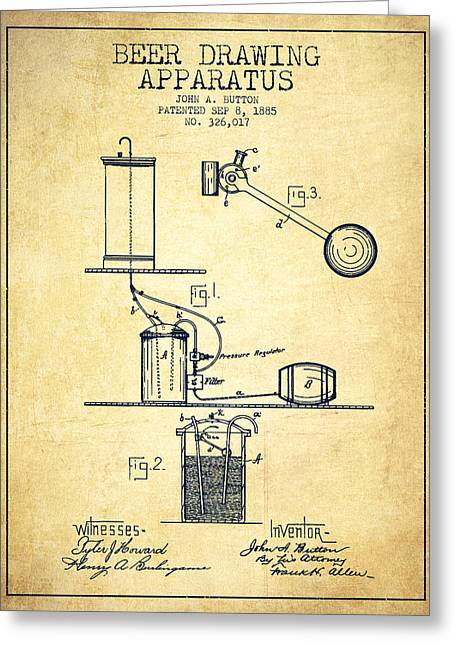 Tap Greeting Cards - Beer Drawing Apparatus Patent from 1885 Greeting Card by Aged Pixel