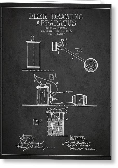 Tap Greeting Cards - Beer Drawing Apparatus Patent from 1885 - Dark Greeting Card by Aged Pixel