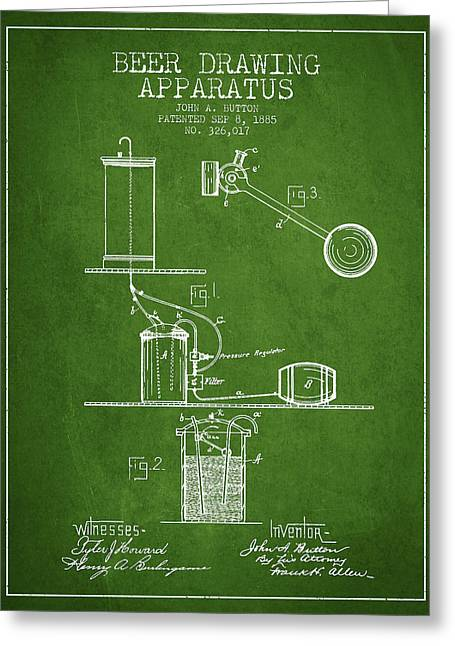 Tap Greeting Cards - Beer Drawing Apparatus Patent from 1885 - Green Greeting Card by Aged Pixel