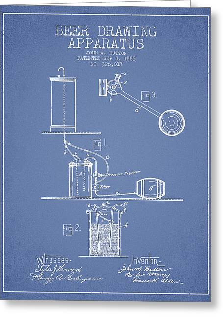 Tap Greeting Cards - Beer Drawing Apparatus Patent from 1885 - Light Blue Greeting Card by Aged Pixel