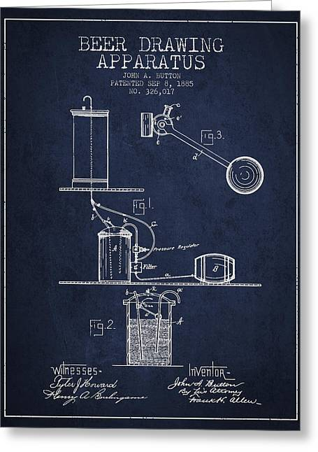 Tap Greeting Cards - Beer Drawing Apparatus Patent from 1885 - Navy Blue Greeting Card by Aged Pixel