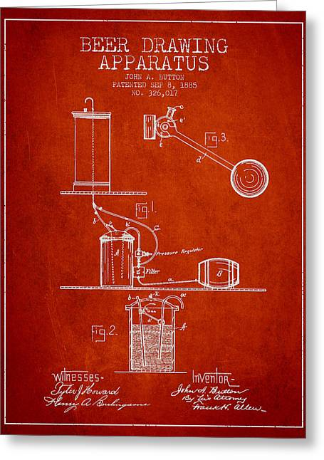 Tap Greeting Cards - Beer Drawing Apparatus Patent from 1885 - Red Greeting Card by Aged Pixel