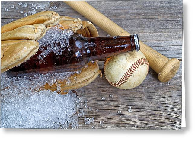 Baseball Bat Greeting Cards - Beer in Mitt  Greeting Card by Tom  Baker