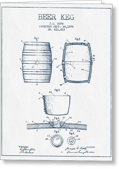 Barrel Greeting Cards - Beer Keg Patent Drawing from 1898 -  Blue Ink Greeting Card by Aged Pixel