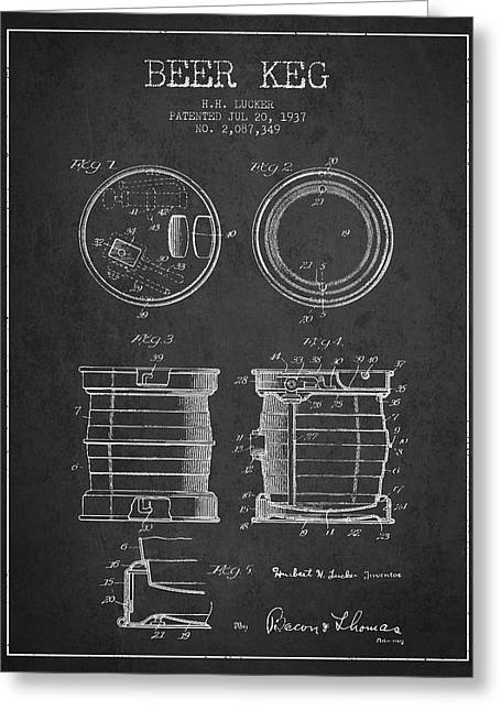 Barrel Greeting Cards - Beer Keg Patent Drawing from 1937 - Dark Greeting Card by Aged Pixel
