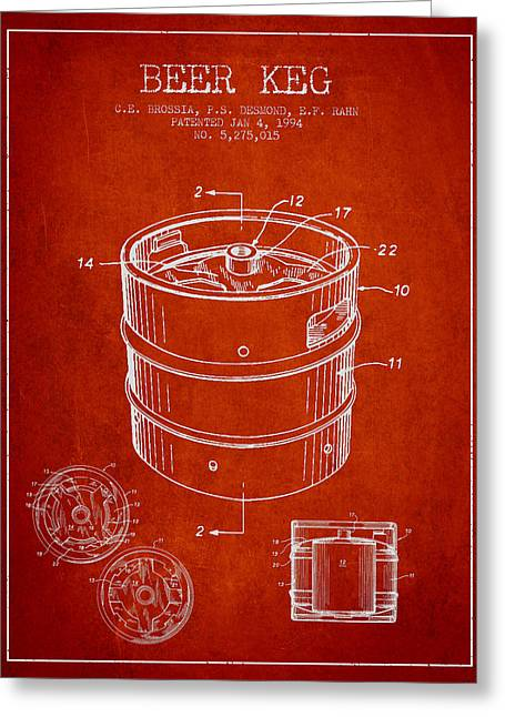 Barrel Greeting Cards - Beer Keg Patent Drawing - Red Greeting Card by Aged Pixel
