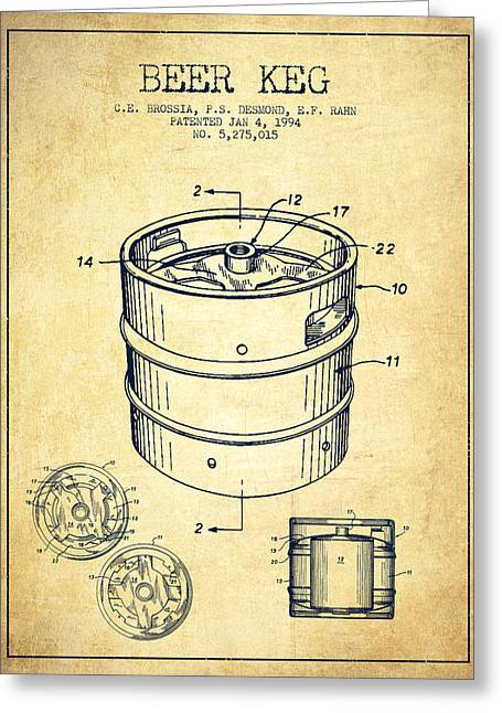 Barrel Greeting Cards - Beer Keg Patent Drawing - Vintage Greeting Card by Aged Pixel