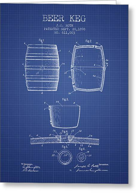 Barrel Greeting Cards - Beer Keg patent from 1898 Blueprint Greeting Card by Aged Pixel