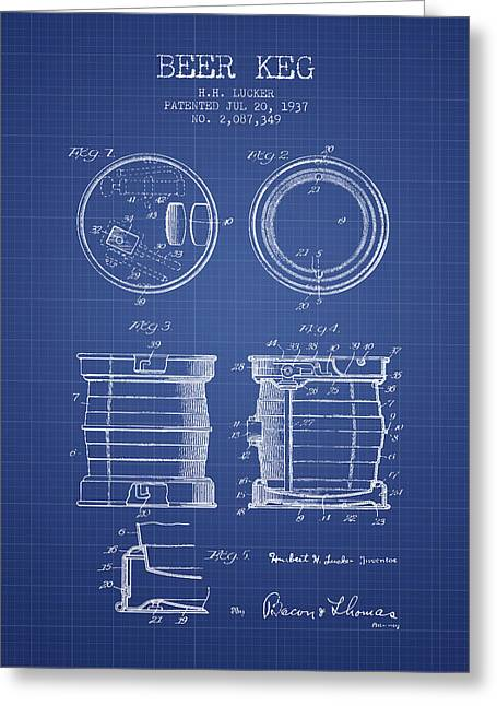 Technical Greeting Cards - Beer Keg Patent from 1937 - Blueprint Greeting Card by Aged Pixel