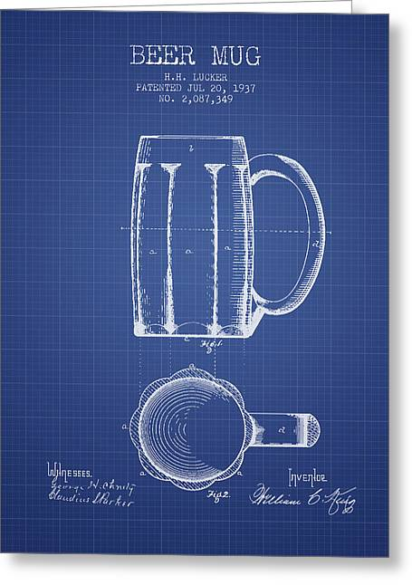 Glass Wall Greeting Cards - Beer Mug Patent 1876 - Blueprint Greeting Card by Aged Pixel