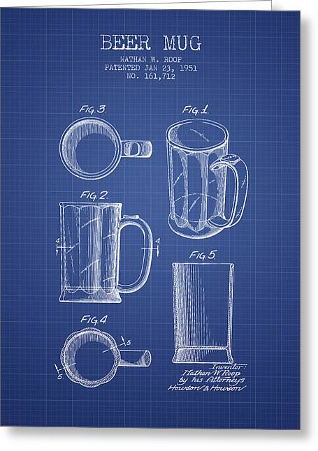 Glass Wall Greeting Cards - Beer Mug Patent 1951 - Blueprint Greeting Card by Aged Pixel