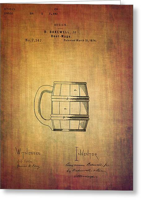 1874 Greeting Cards - Beer mug patent B.Bakewell from 1874 Greeting Card by Eti Reid