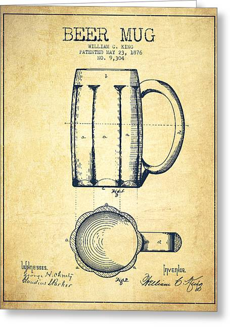 Barrel Greeting Cards - Beer Mug Patent Drawing from 1876 - Vintage Greeting Card by Aged Pixel