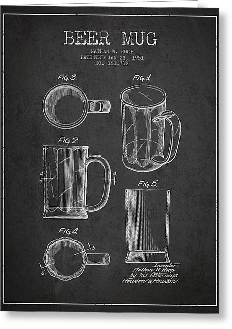 Glass Wall Greeting Cards - Beer Mug Patent Drawing from 1951 - Dark Greeting Card by Aged Pixel